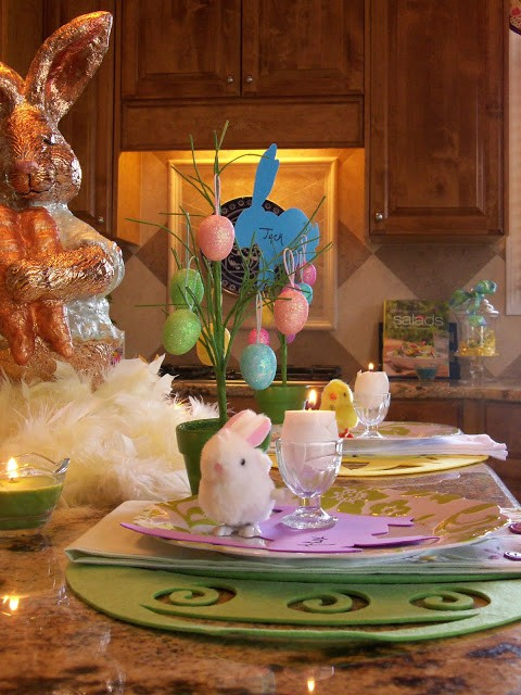 Dollar tree table setting for Spring/Easter