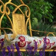 Garden bench spray painted