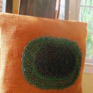 Orange burlap no sew pillow