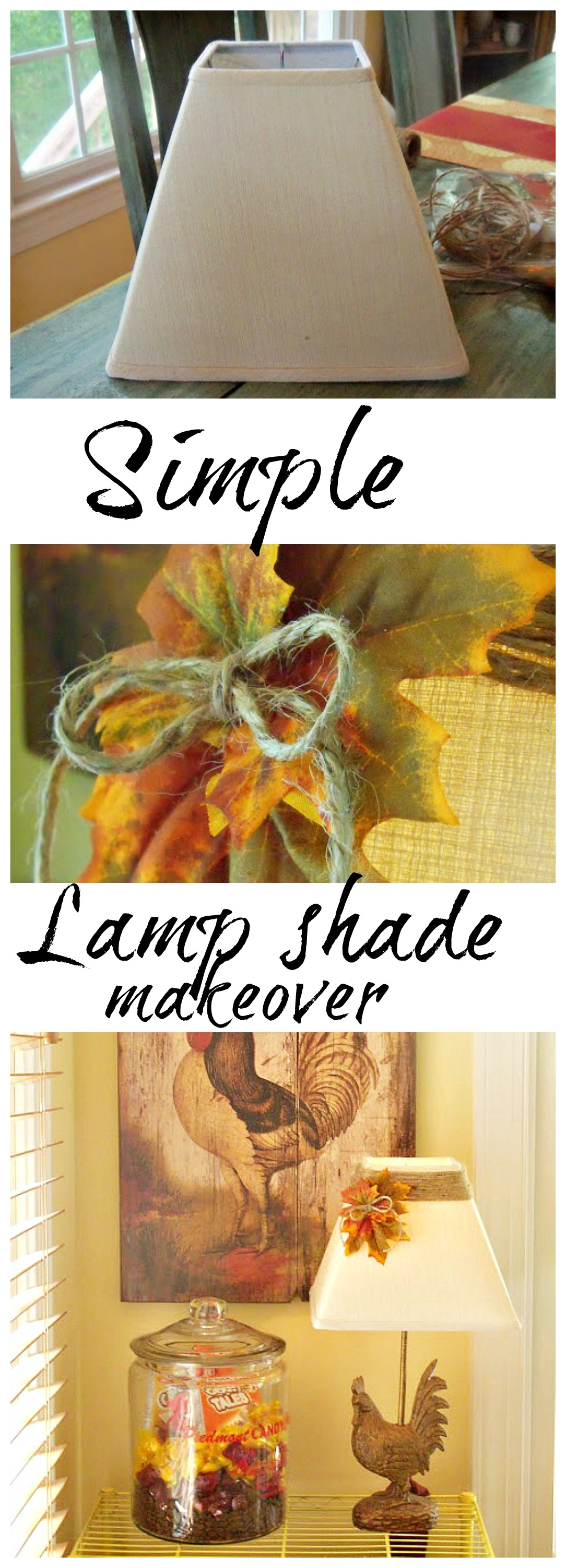 lamp shade makeover for Fall