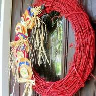 Grapevine and burlap wreath