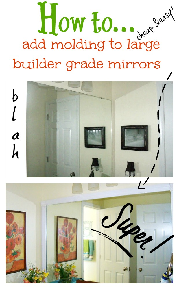 How To Add Molding Around Your Bathroom Builder Grade Mirrors Debbiedoos