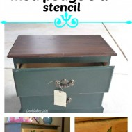 Before and after goodwill piece of furniture with spray paint, stencil mod podge and a graphic
