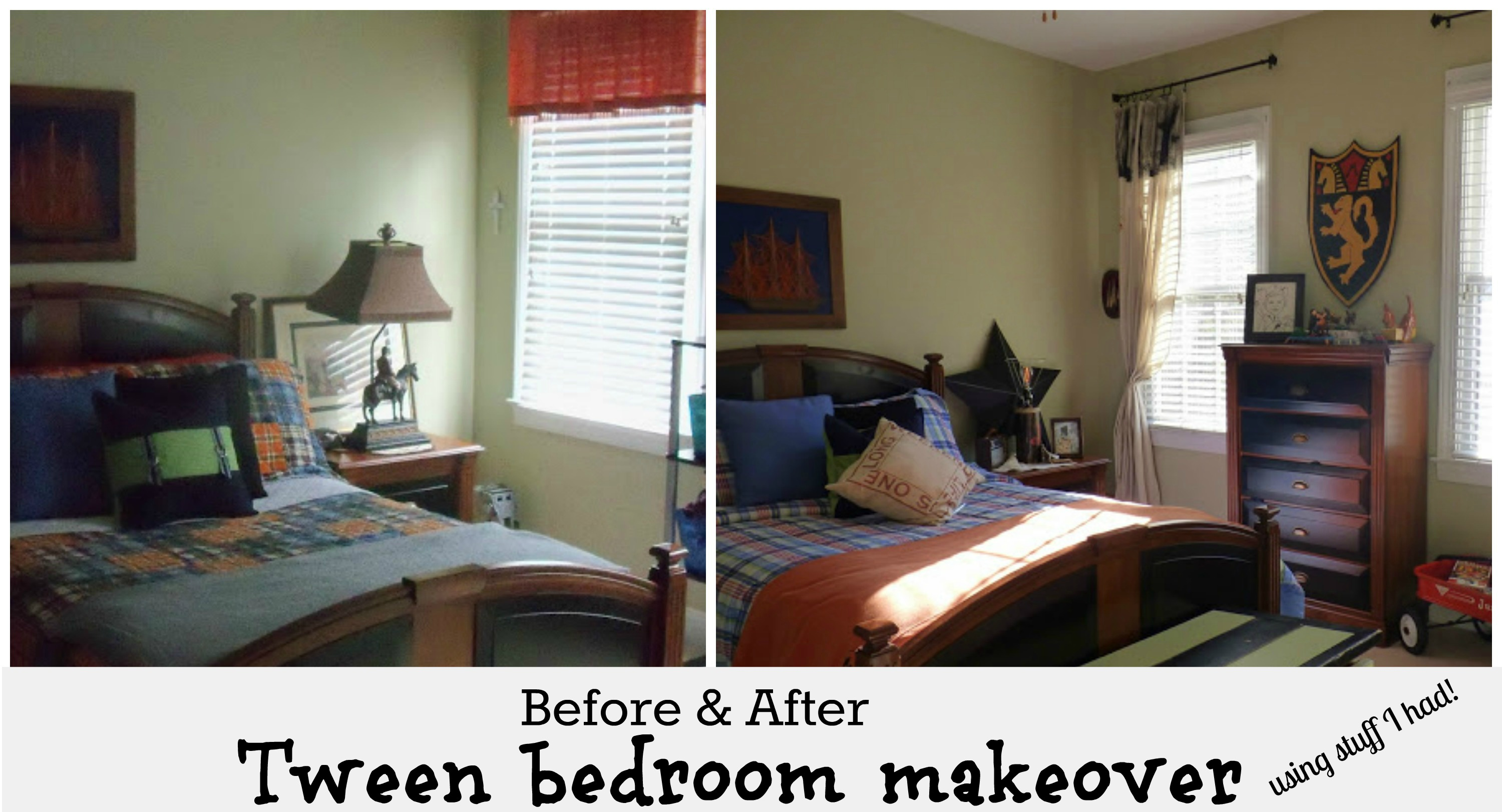Boys bedroom before and after makeover on a budget using things I already had