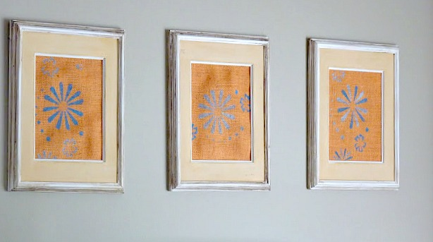 diy burlap stenciled art