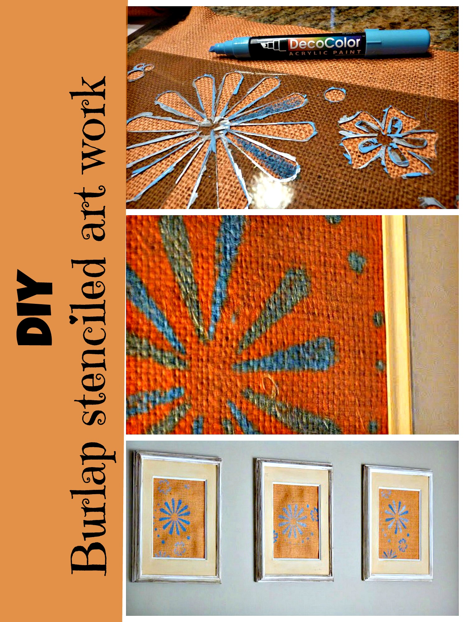 diy stenciled burlap art work