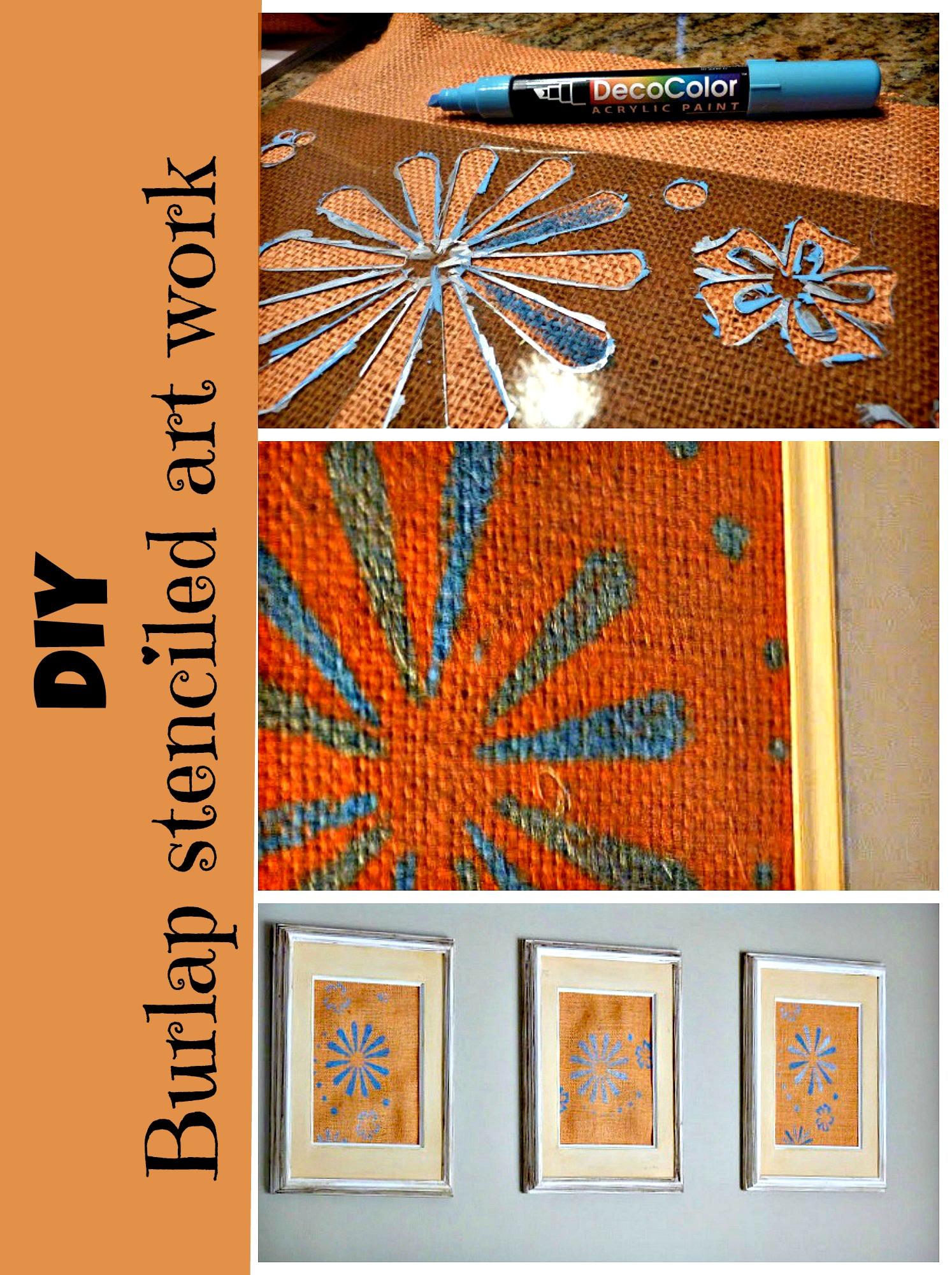 diy stenciled burlap art work