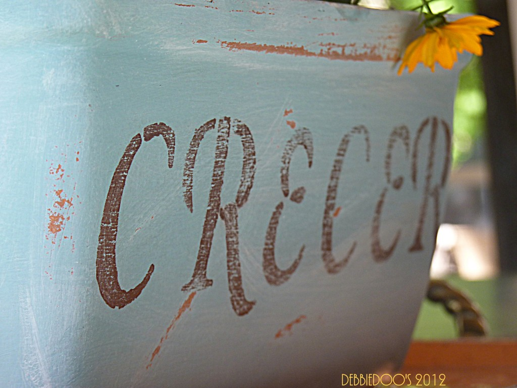 terra cotta pot painted with Annie Sloan paint and stenciled