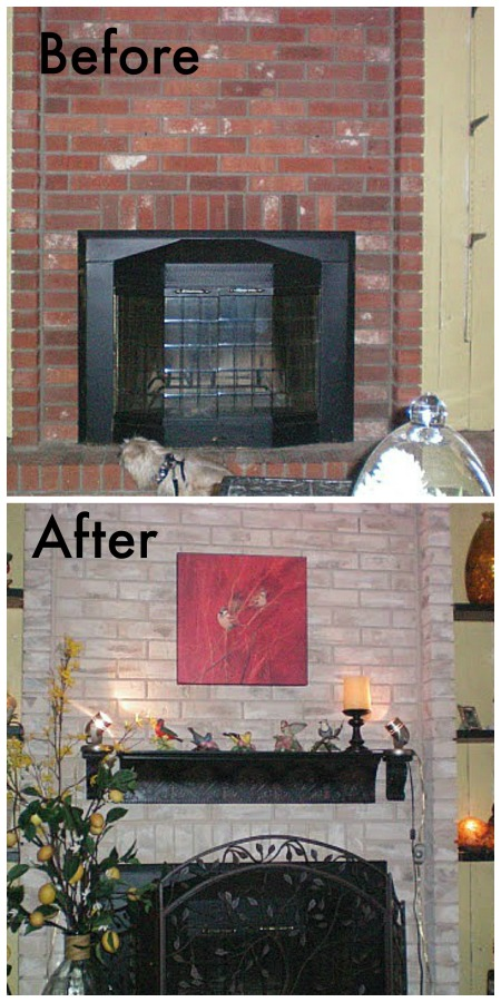 Before And After Brick Fp Makeover Fireplace Painted Townhome Tour Debbiedoos