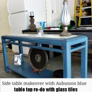 Side table makeover with Aubusson blue Annie Sloan chalk paint