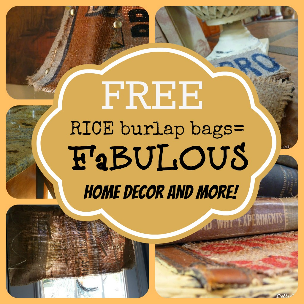 rice-burlap-bags-diy-home-decor-projects DIY burlap coasters, stools, lampshades and more!
