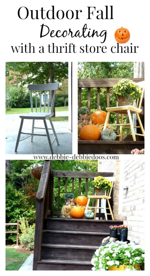 Outdoor Fall decorating with a thrift store chair