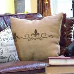 stenciled burlap pillow