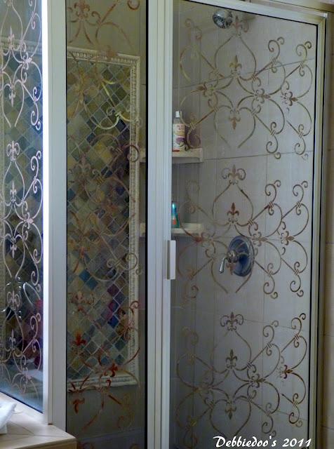 Stencil On A Shower Door Diy Debbiedoos