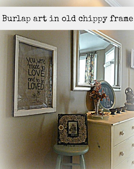 Burlap art framed in old frame