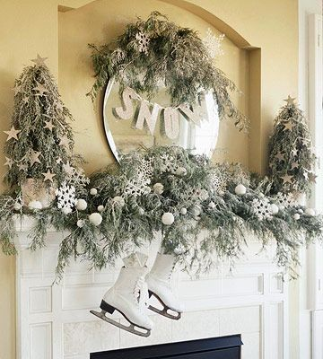 winter mantel and skates