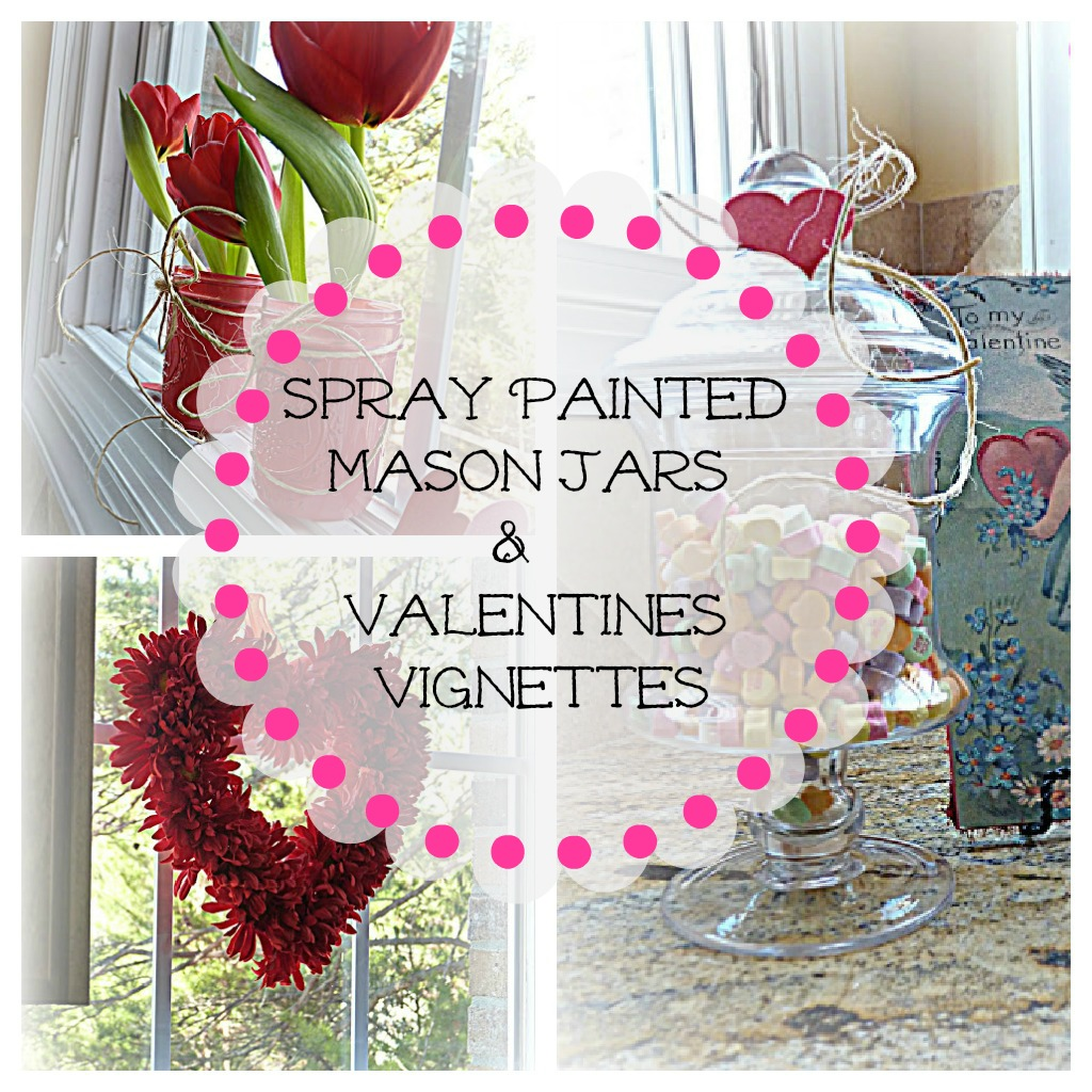 Spray painted mason jars valentine 39 s decorating ideas for Pinterest valentine home decorations