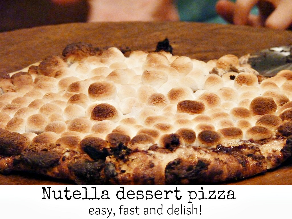 Nutella pizza dessert that looks like one giant smore
