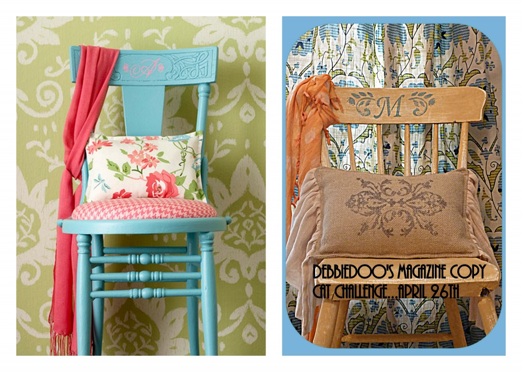 maga 1024x731 Thrift store chair, painted and stenciled {Magazine copy cat challenge inspiration}