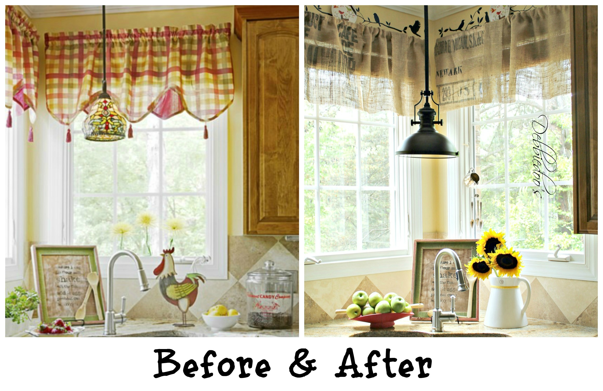 Diy no sew burlap kitchen valances made from coffee bags for Valance curtains for kitchen
