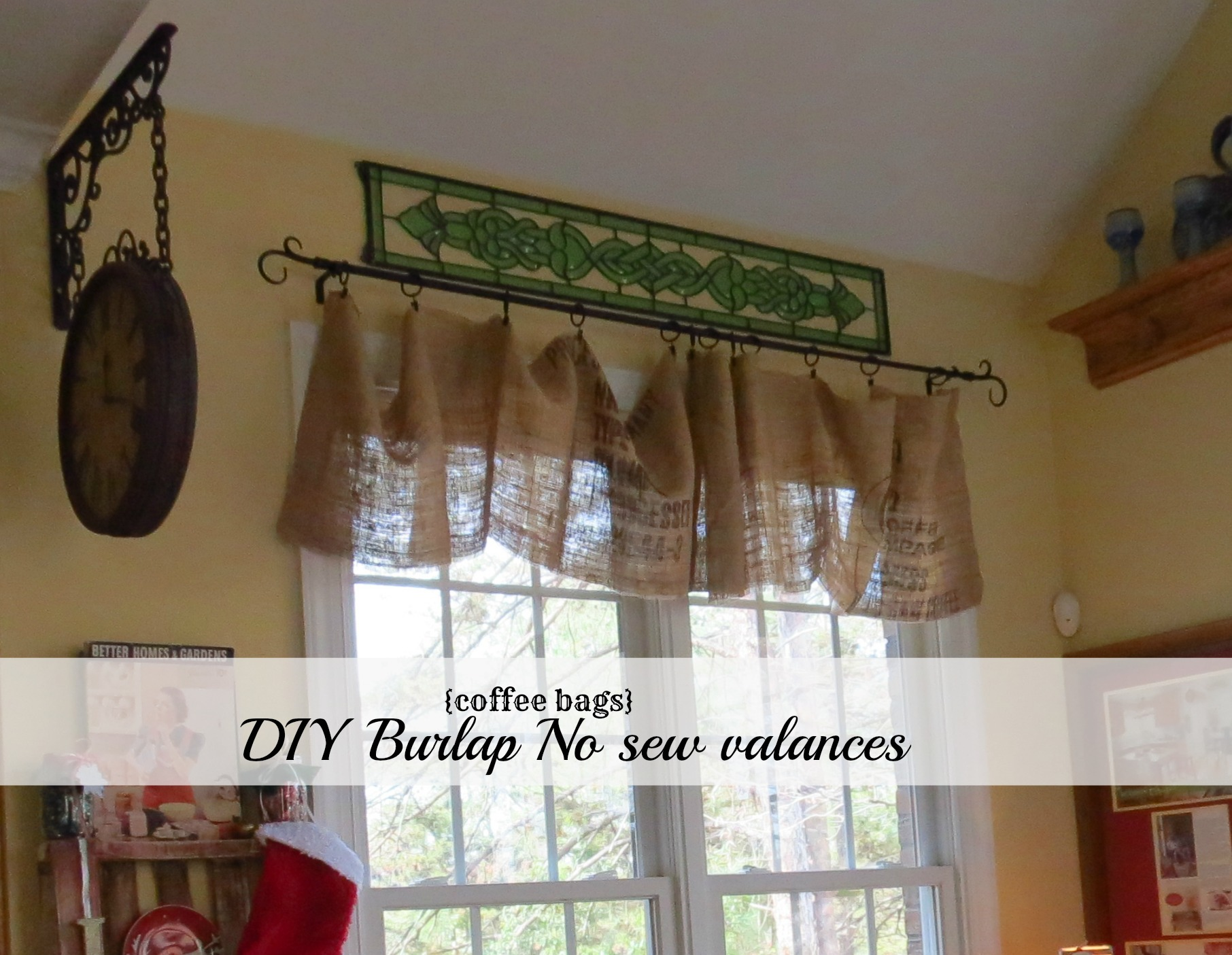Diy no sew burlap kitchen valances made from coffee bags Window treatment ideas to make