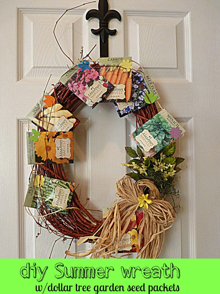 diy summer wreath with Dollar tree garden seed packets