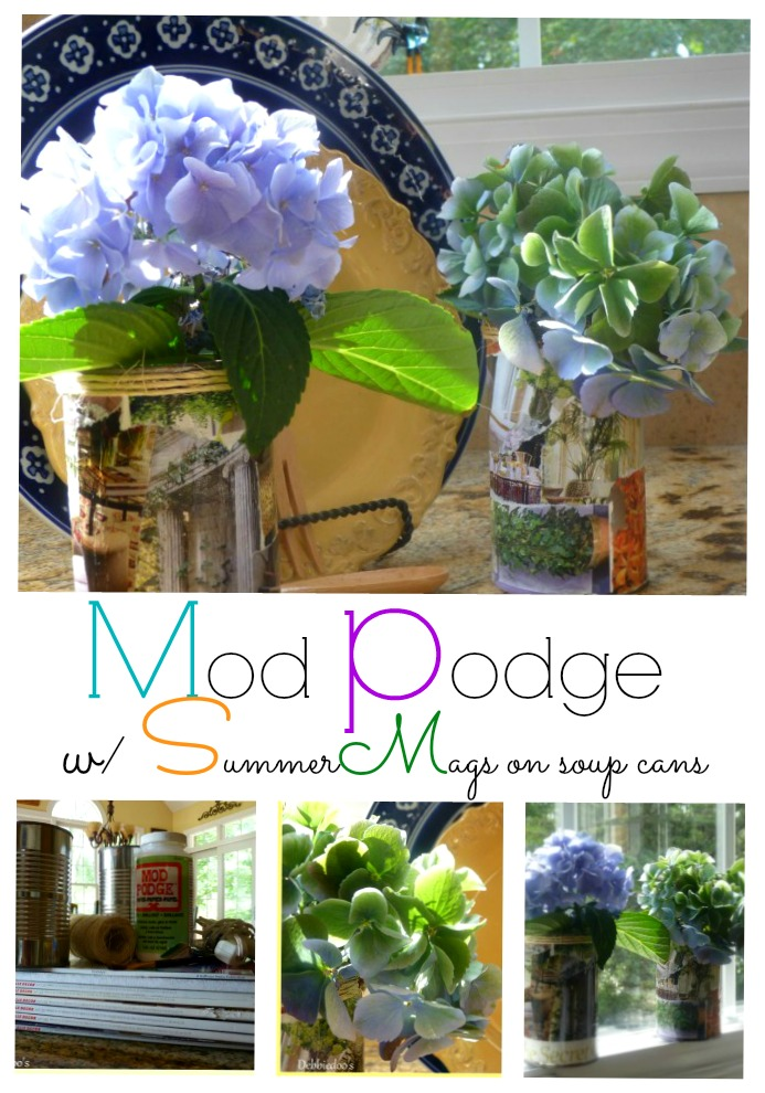 mod podge on soup cans and make a pretty summer vase