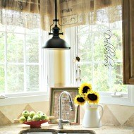 Diy no sew burlap kitchen valances…made from Coffee bags!