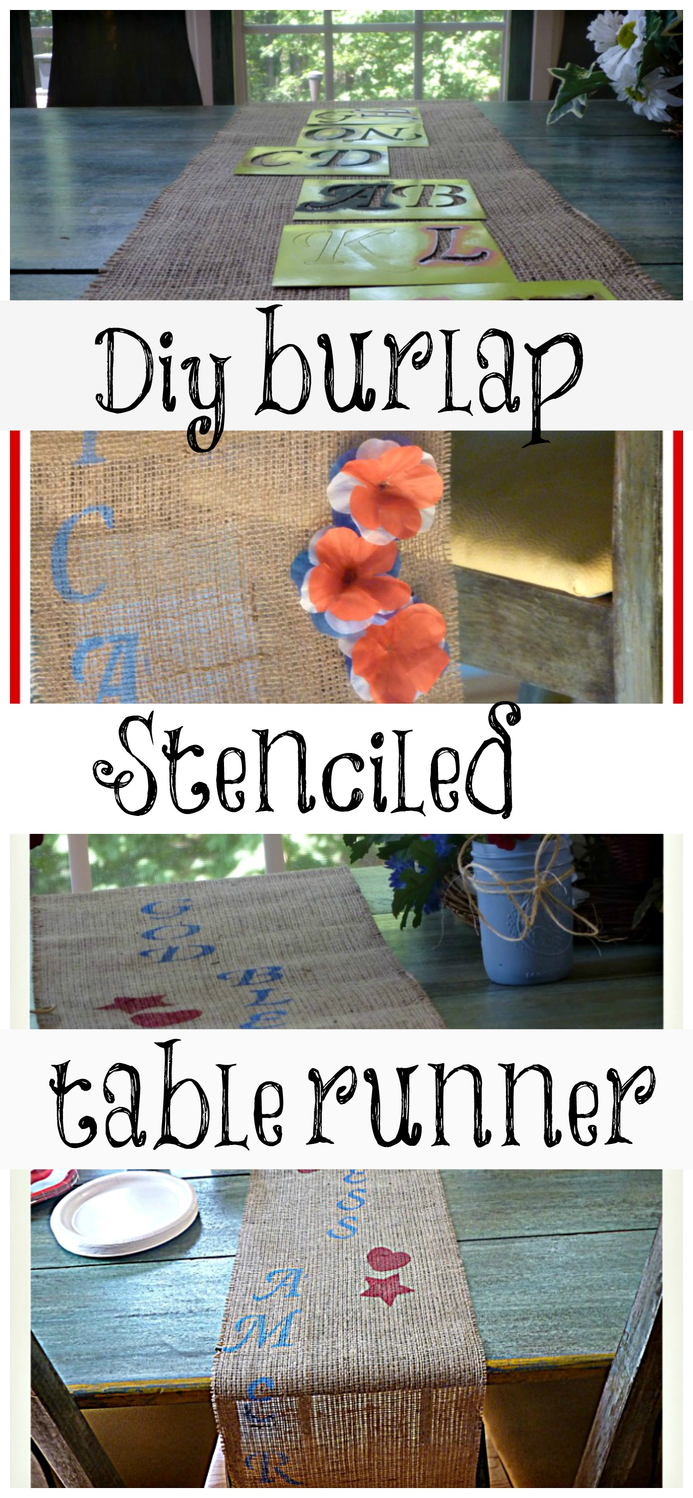 diy burlap table runner god bless america