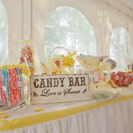 Memory table, nostalgic candy and place setting tags for a vintage wedding