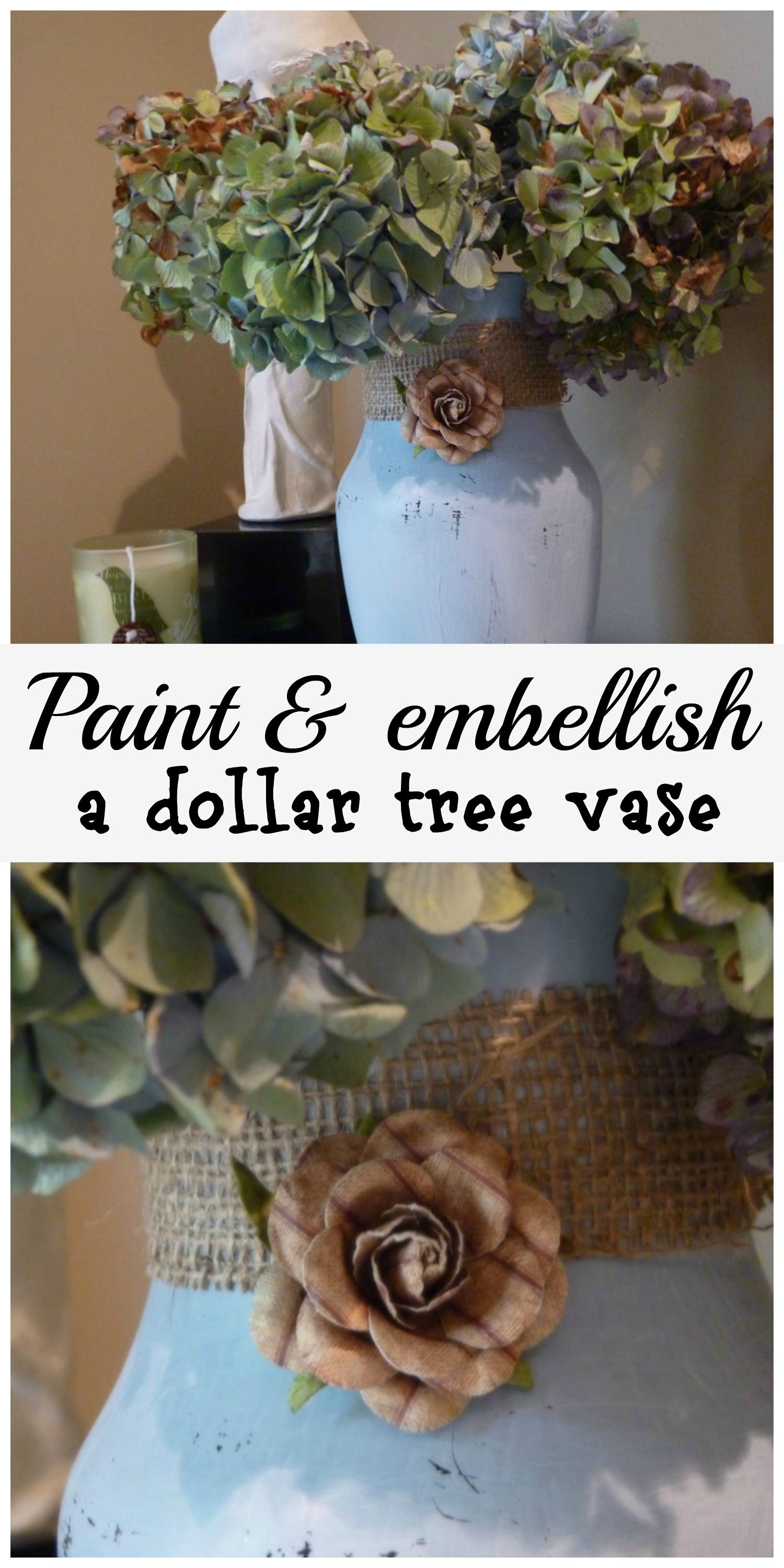 Painted vase from dollar tree, embellished with burlap