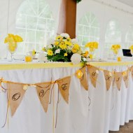 A diy burlap banner for a wedding table