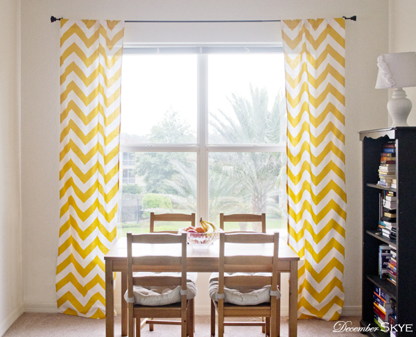 Of yellow and white bold zig zag wide chevron curtains custom drapes