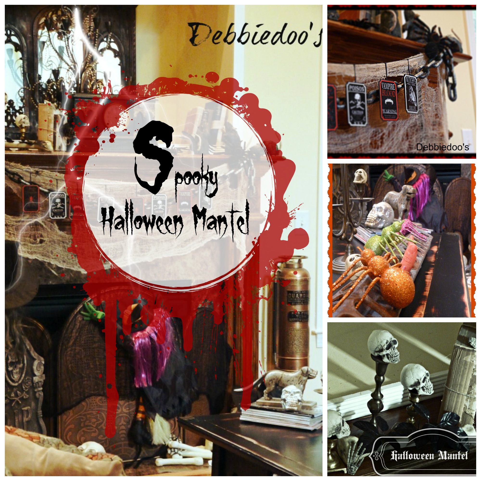 Spooky Halloween mantel with dollar tree decor