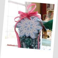 Mason jars, burlap and Dollar tree gift tags