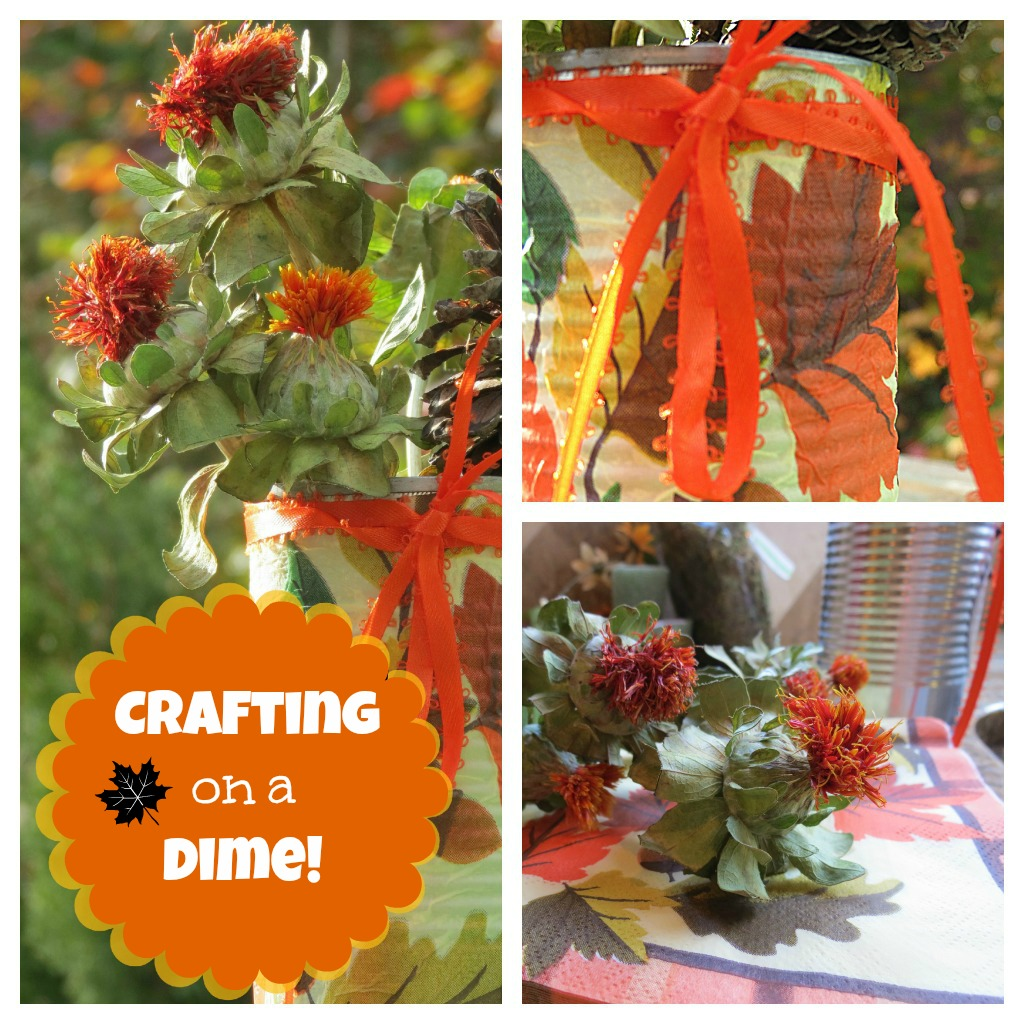 recycled cans decorating for fall
