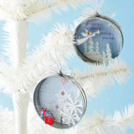 Recycled jar lids for Christmas ornaments