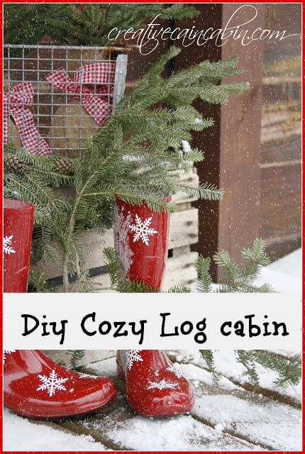 Snowflake-Red-Boots Come on and get cozy in a rustic log cabin home tour!