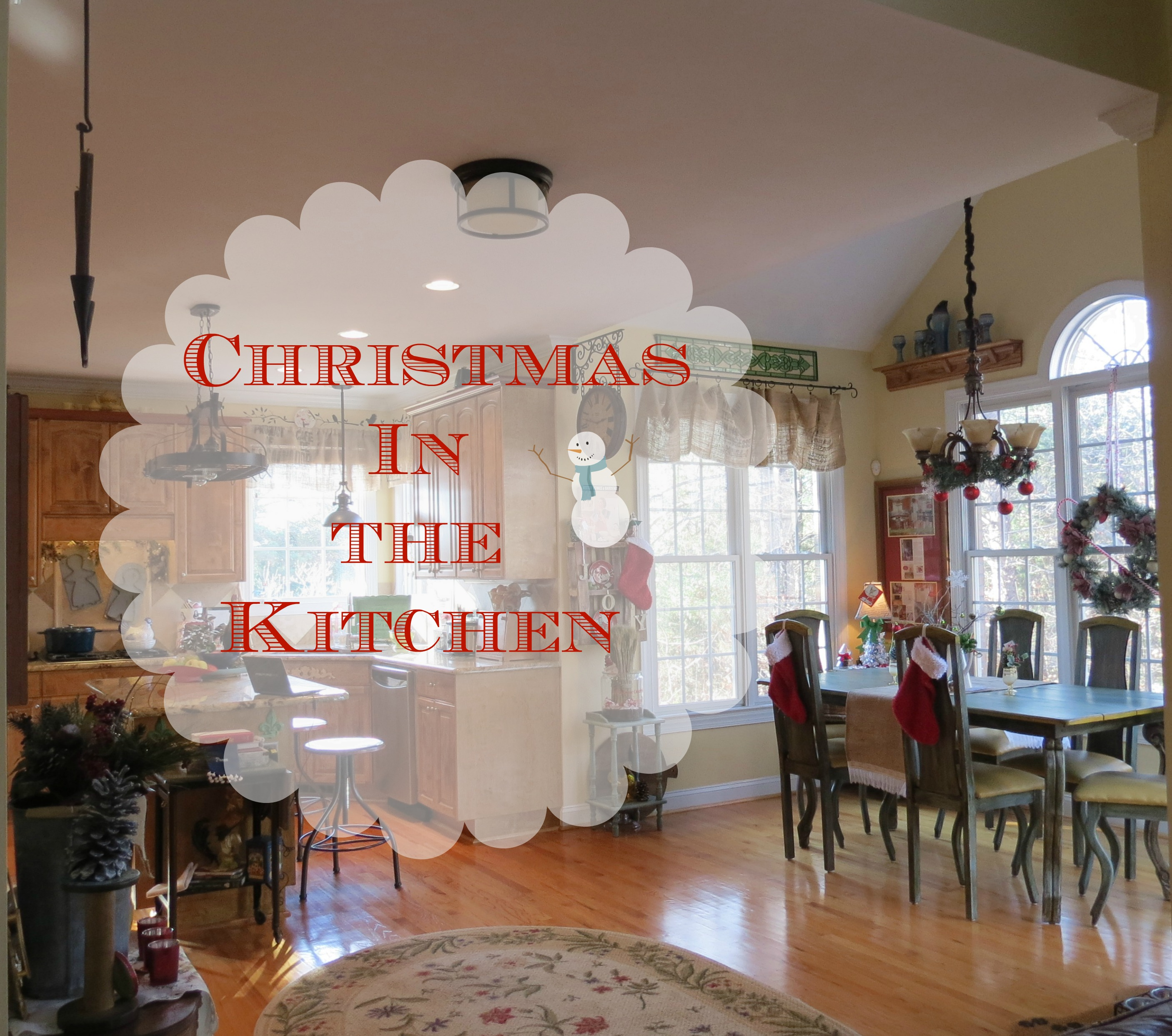 Christmas decor in a Country French Rustic Kitchen Debbiedoo s