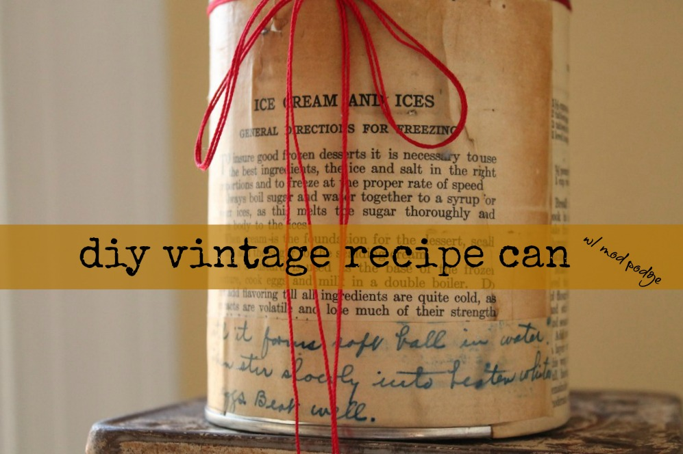 vintage recipe can on vintage scale