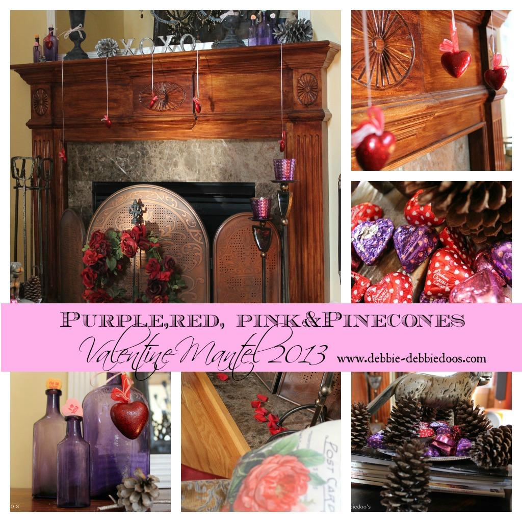 Valentine-mantel-purple-red-pink-and-pinecones Valentine Mantel ideas 2013 {Purple, red, pink and Pinecones}