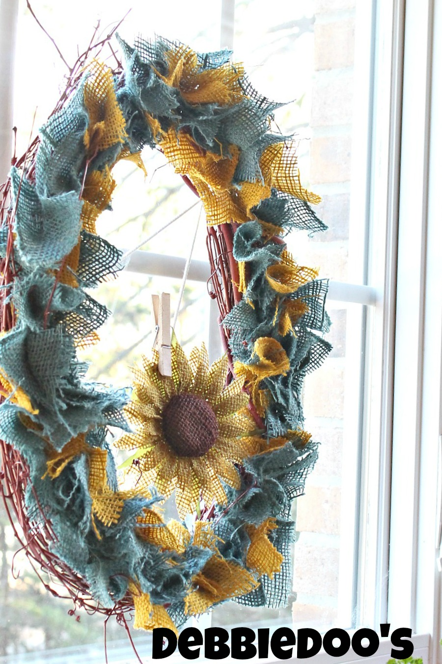 Country french multi-colored burlap wreath
