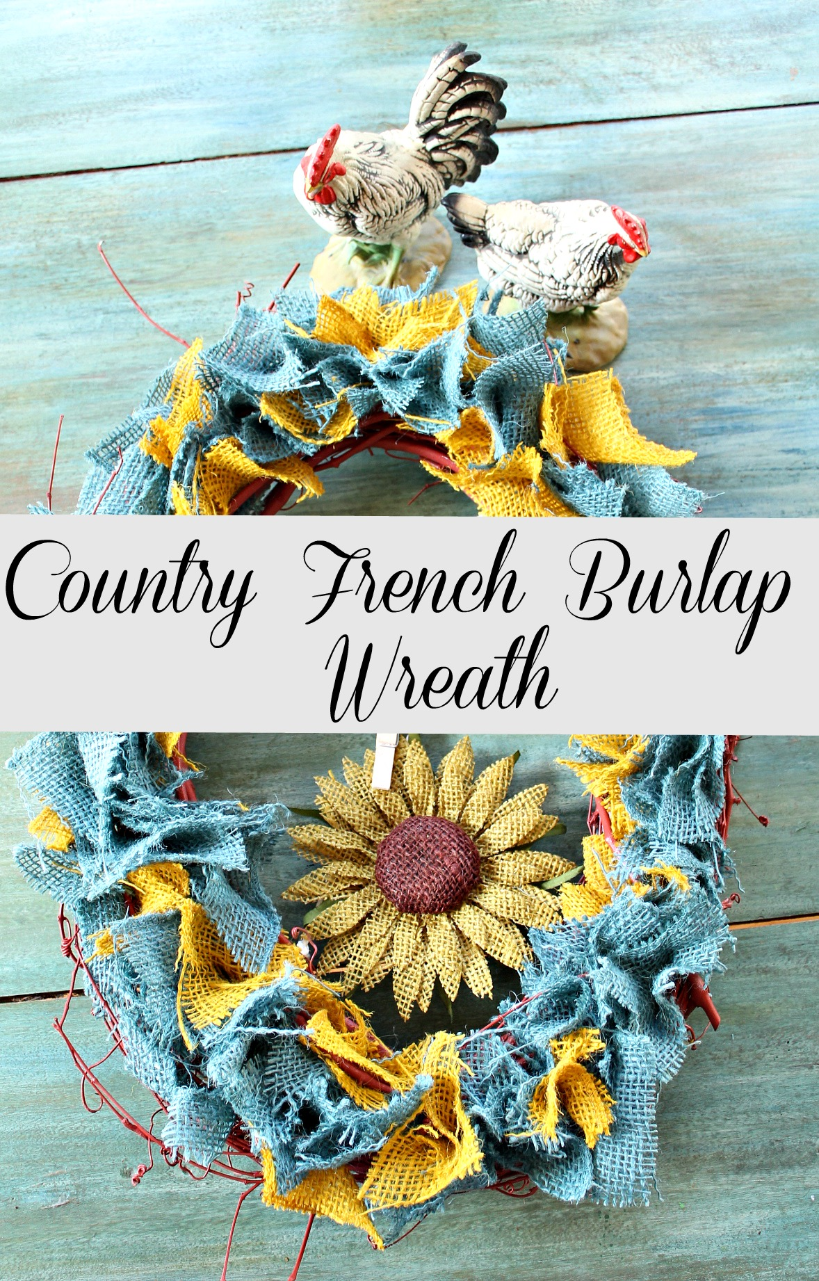 Country French burlap wreath