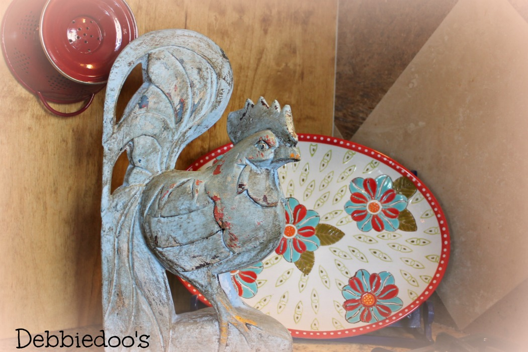 Painted rooster in Louis blue Annie Sloan chalk paint
