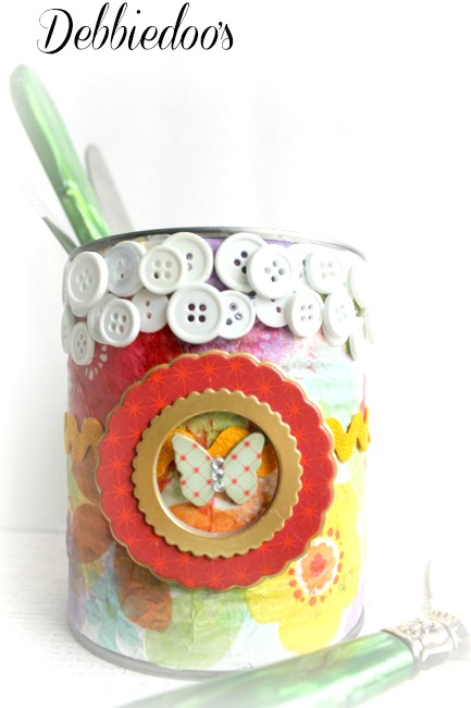 recycled can decorated for spring