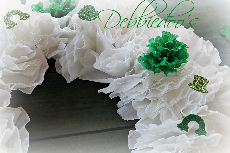 Coffee filter wreath for St. Patrick's day