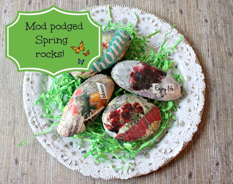 Mod podged spring rocks