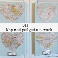 Mod podge diy Love Map art work