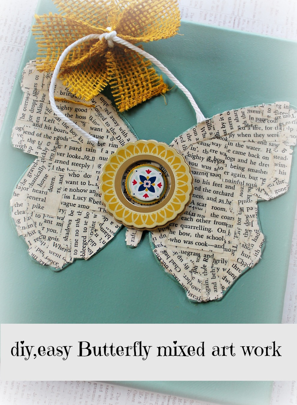 butterfly mod podged spring art