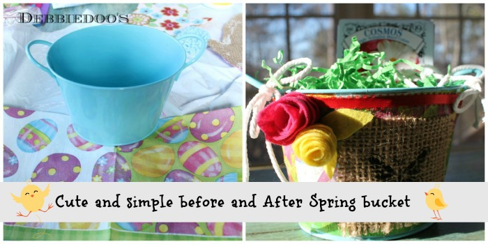 Before and after Spring bucket from the Dollar tree